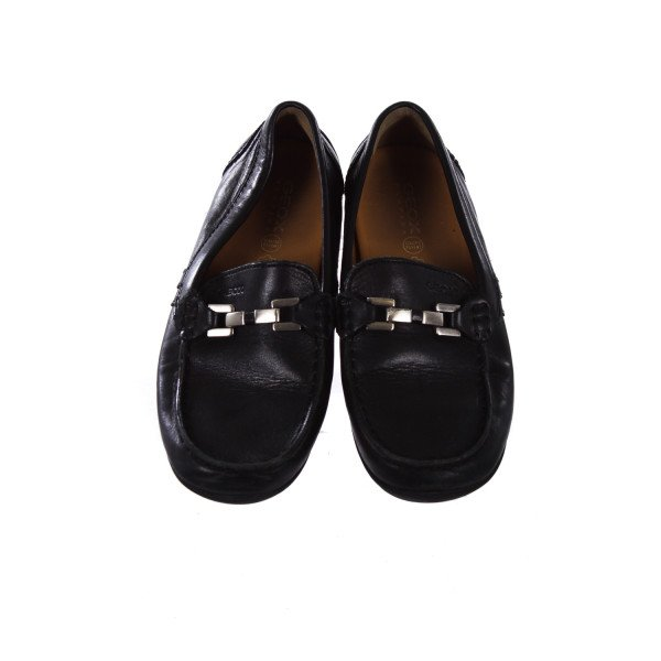 GEOX RESPIRA BLACK LEATHER LOAFERS WITH SILVER BUCKLE CHILD SIZE 2 *LIGHT WEAR