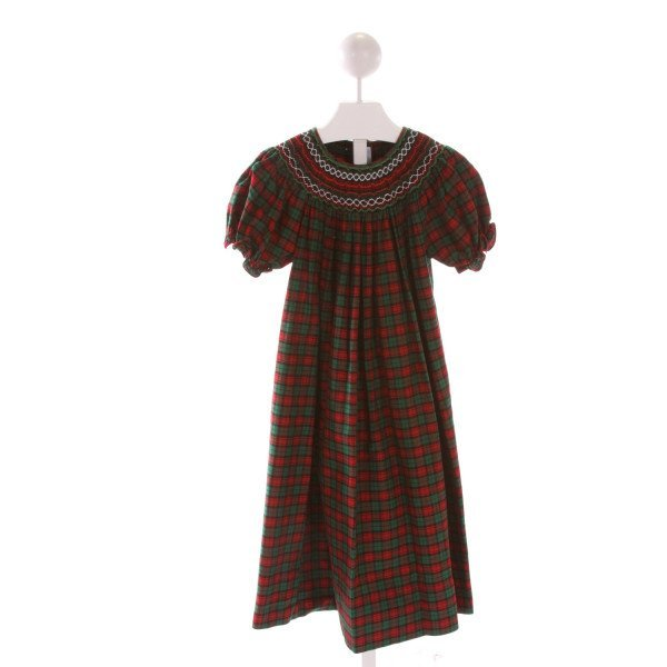 SWEET ANGELA  MULTI-COLOR  PLAID SMOCKED DRESS WITH RUFFLE