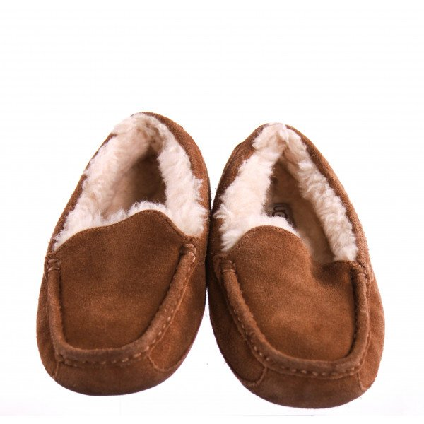UGG BROWN FURRY MOCCASINS *SIZE 3, VGU - LIGHT WEAR AND SCUFFING