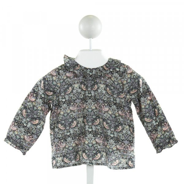 BONPOINT  NAVY  FLORAL PRINTED DESIGN CLOTH LS SHIRT WITH RUFFLE