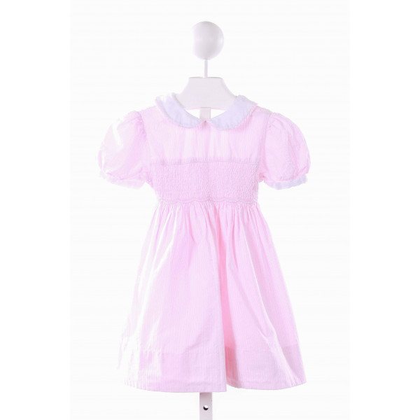 SOPHIE DESS  PINK SEERSUCKER STRIPED SMOCKED CASUAL DRESS