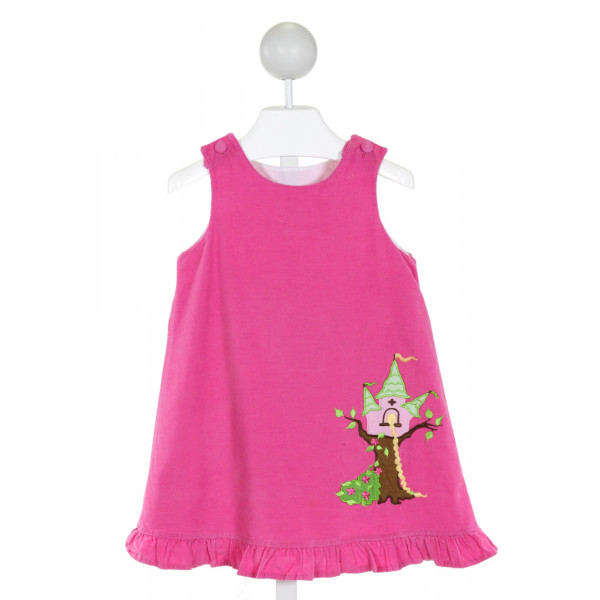 GLORIMONT  HOT PINK CORDUROY  EMBROIDERED DRESS WITH RUFFLE