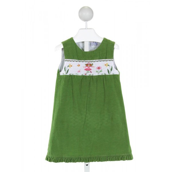 ORIENT EXPRESSED  GREEN CORDUROY  SMOCKED DRESS WITH RUFFLE