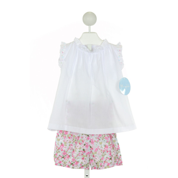 LITTLE ENGLISH  WHITE  FLORAL  2-PIECE OUTFIT WITH RUFFLE