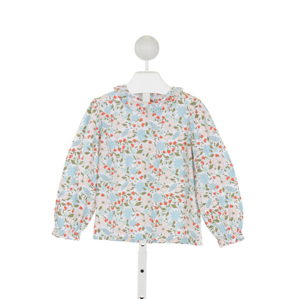 LITTLE ENGLISH  WHITE  FLORAL  CLOTH LS SHIRT WITH RUFFLE