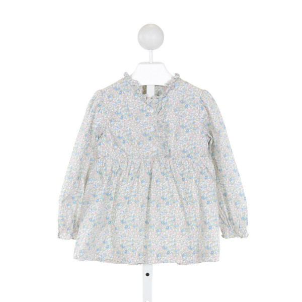 LITTLE ENGLISH  BLUE  FLORAL  CLOTH LS SHIRT WITH RUFFLE