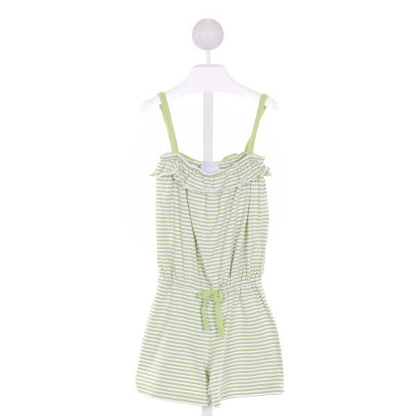 LITTLE ENGLISH  LT GREEN  STRIPED  KNIT ROMPER WITH RUFFLE