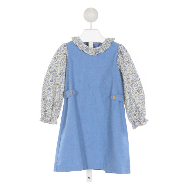 LITTLE ENGLISH  BLUE  FLORAL  DRESS WITH RUFFLE