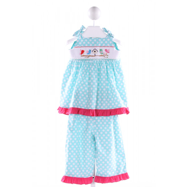 MOM & ME  LT BLUE  POLKA DOT SMOCKED 2-PIECE OUTFIT WITH RUFFLE