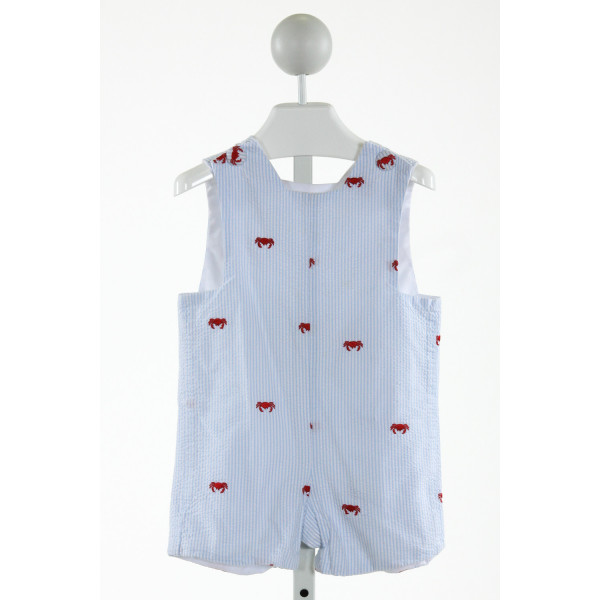 LAWRENCE & LILLIAN  LT BLUE SEERSUCKER STRIPED EMBROIDERED JOHN JOHN/ SHORTALL