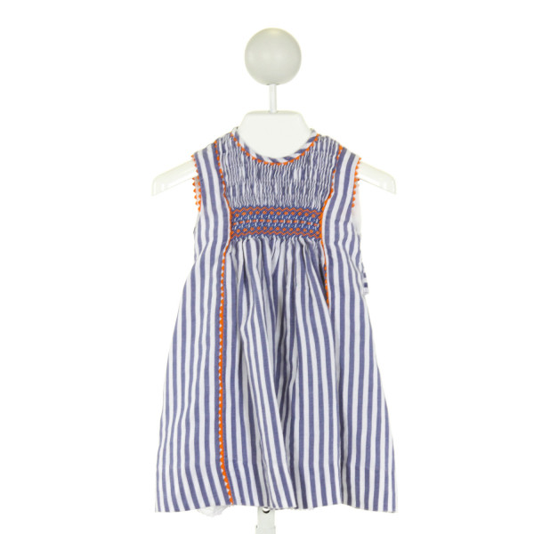 LA COQUETA  BLUE  STRIPED SMOCKED DRESS WITH RIC RAC
