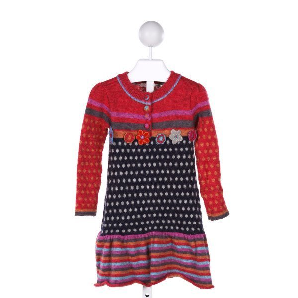 DEUX PAR DEUX  MULTI-COLOR  STRIPED PRINTED DESIGN KNIT DRESS