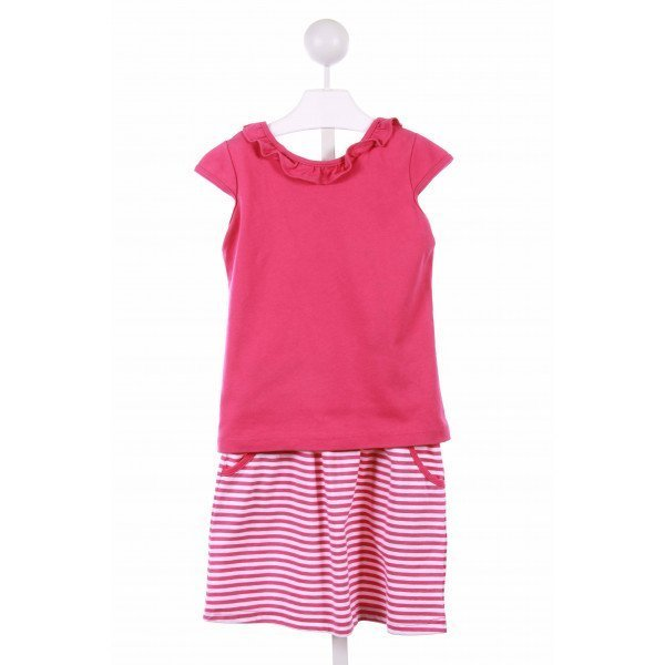 CHEZ AMI  HOT PINK COTTON STRIPED  2-PIECE OUTFIT WITH RUFFLE