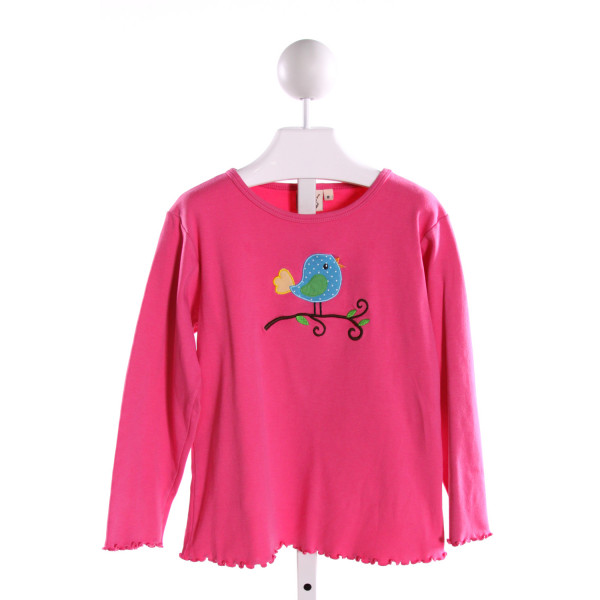 LUIGI  HOT PINK   EMBROIDERED KNIT LS SHIRT WITH RUFFLE