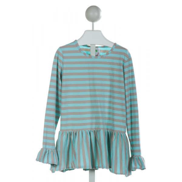 SHRIMP & GRITS  LT BLUE  STRIPED  KNIT LS SHIRT WITH RUFFLE