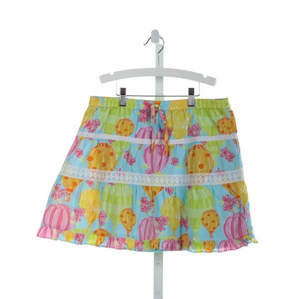 LILLY PULITZER  LT BLUE  PRINT EMBROIDERED SKIRT WITH RUFFLE