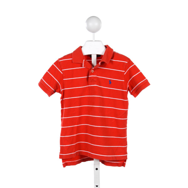 POLO BY RALPH LAUREN ORANGE AND WHITE STRIPE KNIT POLO