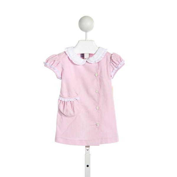 BLUE BUMBLEBEE BOUTIQUE FRANCE DRESS IN LIGHT PINK CORD WITH WHITE CORD COLLAR AND LACE TRIM
