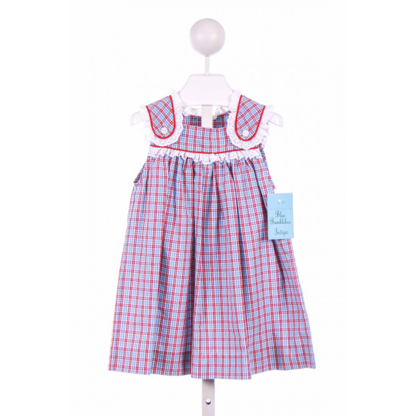 BLUE BUMBLEBEE  RED  PLAID  CASUAL DRESS WITH EYELET TRIM