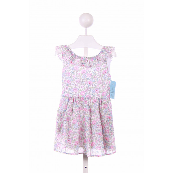 BLUE BUMBLEBEE  PINK  FLORAL  CASUAL DRESS WITH RUFFLE