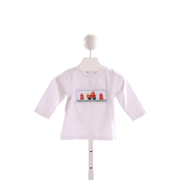 SMOCKINGBIRD  WHITE   SMOCKED KNIT LS SHIRT