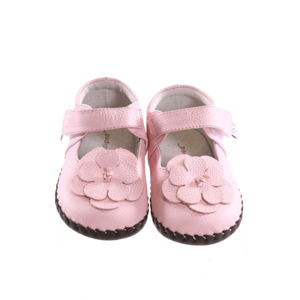 PEDIPED PINK SOFT SOLED SHOES WITH FLOWER *SIZE 18-24 MONTHS = APPROX 5.5, EUC