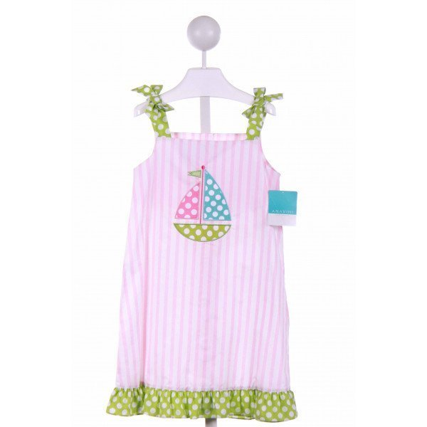 ANAVINI  PINK  STRIPED APPLIQUED CASUAL DRESS