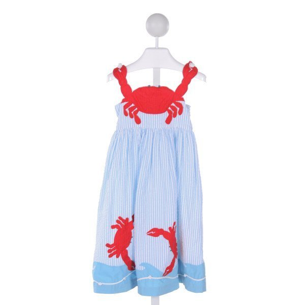COTTON KIDS  LT BLUE SEERSUCKER STRIPED APPLIQUED DRESS