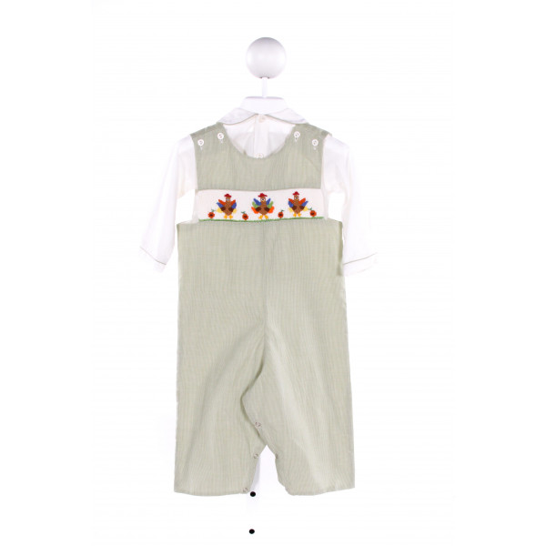 BE MINE  GREEN  MICROCHECK SMOCKED LONGALL/ROMPER