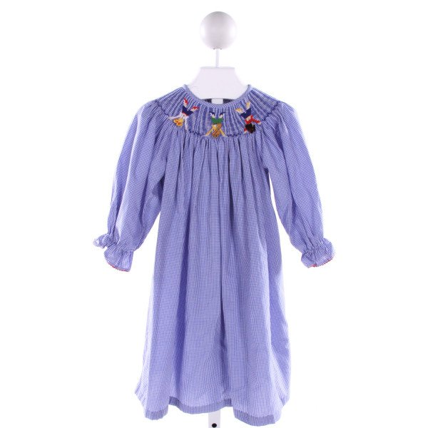 AMANDA REMEMBERED  BLUE  GINGHAM SMOCKED DRESS WITH RIC RAC