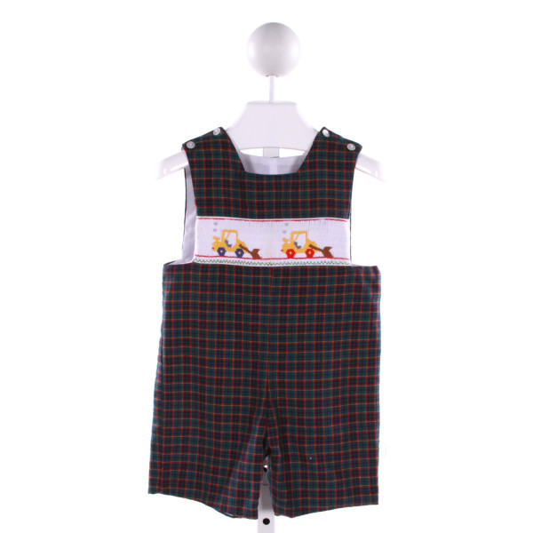 ANAVINI  MULTI-COLOR  PLAID SMOCKED JOHN JOHN/ SHORTALL