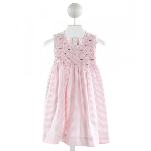 SWEET DREAMS  LT PINK  STRIPED SMOCKED DRESS