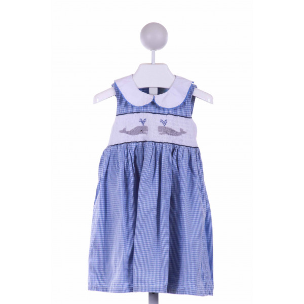 WINDMILL KIDS  BLUE  GINGHAM SMOCKED CASUAL DRESS
