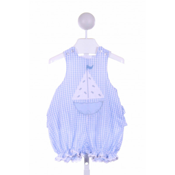 BAILEY BOYS  BLUE SEERSUCKER GINGHAM APPLIQUED BUBBLE WITH RUFFLE