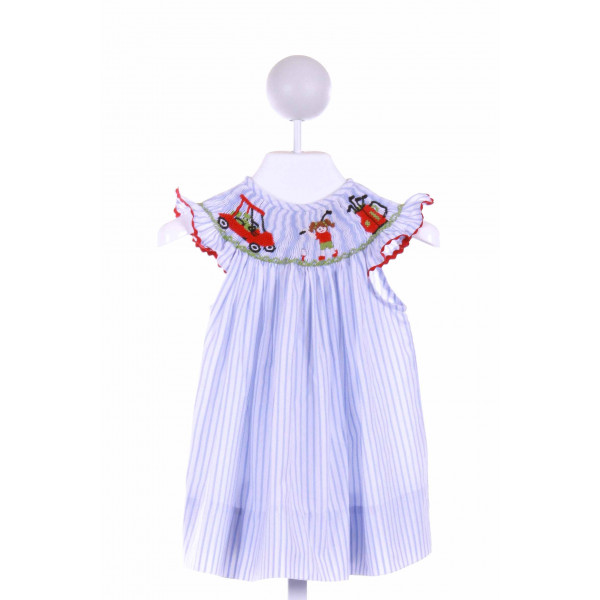 CANDYLAND  BLUE  STRIPED SMOCKED DRESS