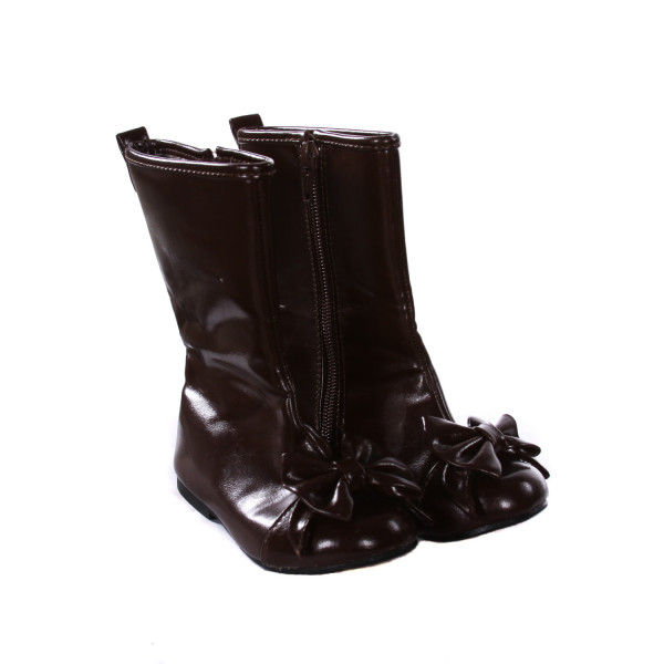 BROWN LEATHER BOOTS WITH BOWS *SIZE 8, VGU - MINOR STAINING