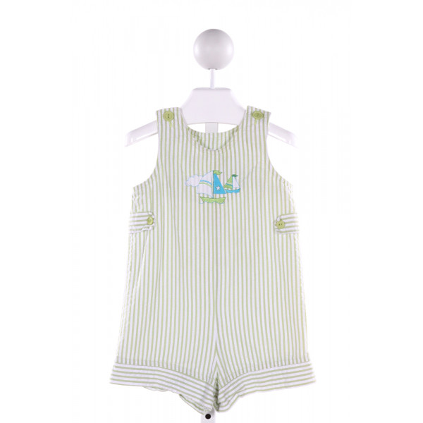 CHEZ AMI  LIME GREEN SEERSUCKER STRIPED EMBROIDERED JOHN JOHN/ SHORTALL