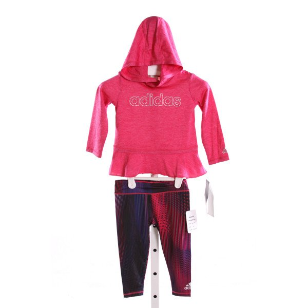 ADIDAS  HOT PINK   PRINTED DESIGN 2-PIECE OUTFIT WITH RUFFLE