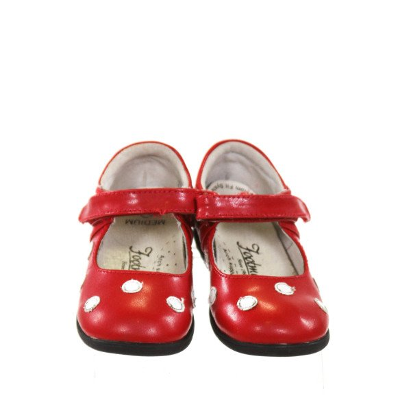 FOOTMATES RED LEATHER SHOES WITH WHITE DOTS *SIZE TODDLER 6.5, VGU - LIGHT WEAR ON DOTS