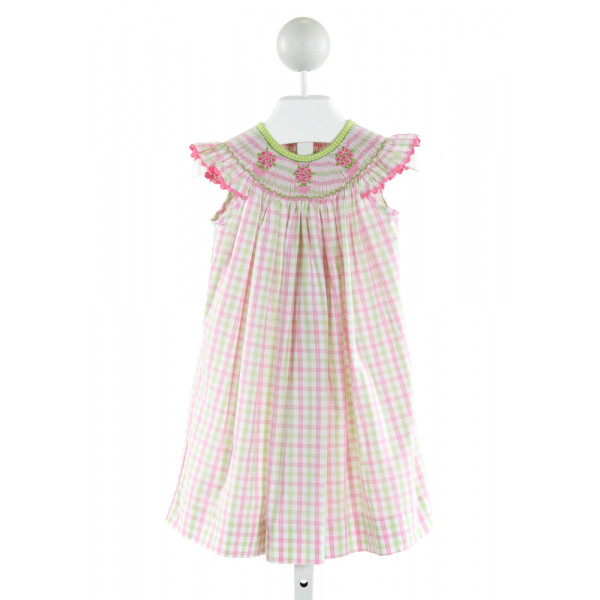 CASTLES & CROWNS  PINK  PLAID SMOCKED DRESS WITH RIC RAC