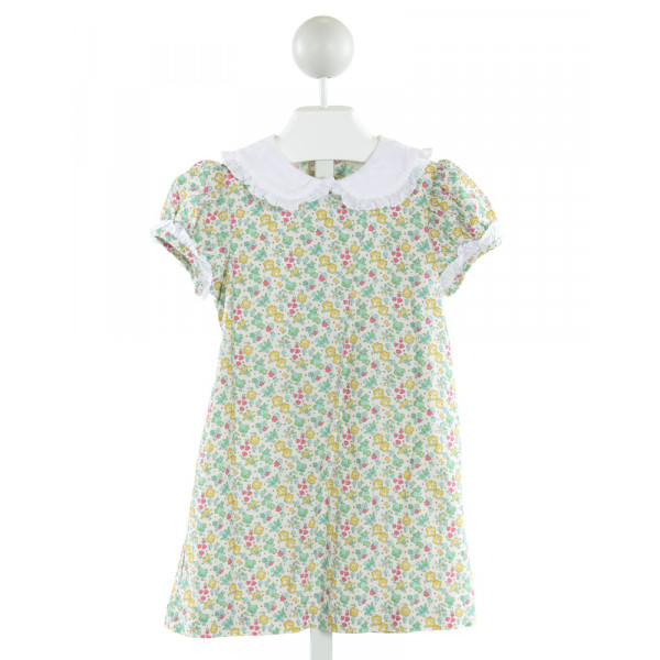 MARY & GRACE  IVORY CORDUROY FLORAL  DRESS WITH EYELET TRIM