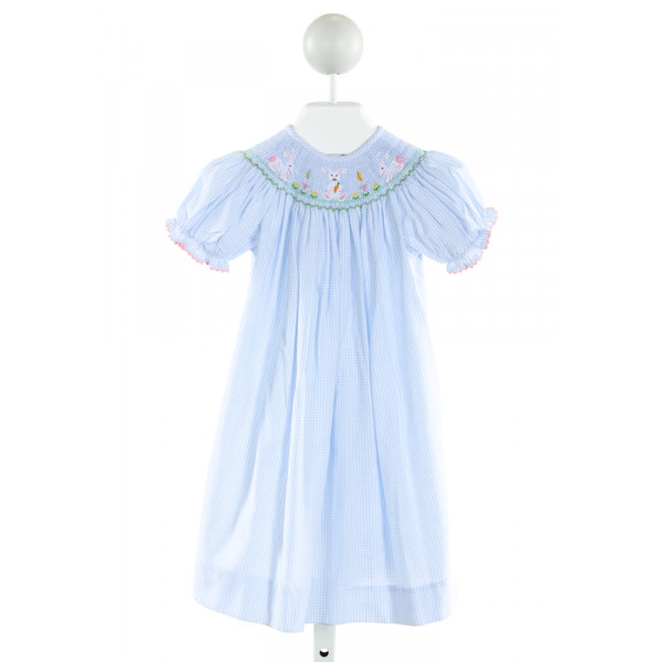 BE MINE  LT BLUE  PLAID SMOCKED DRESS WITH RIC RAC