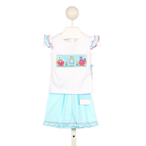 "ANAVINI AQUA DOT AND WHITE KNIT SMOCKED ""ALICE IN WONDERLAND"" SHORT SET"