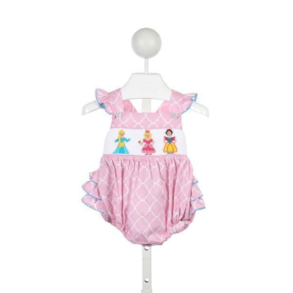ANAVINI PINK AND WHITE SMOCKED PRINCESSES BUBBLE
