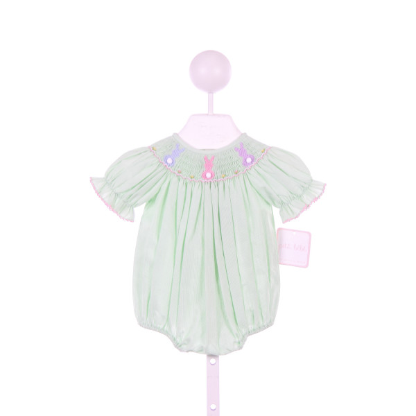 PETIT BEBE GREEN MICRO STRIPE BUBBLE WITH BUNNY SMOCKING