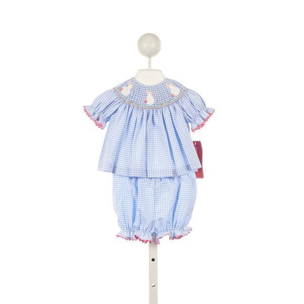 ANAVINI BLUE GINGHAM SEERSUCKER 2 PIECE BLOOMER SET WITH BUNNY SMOCKING