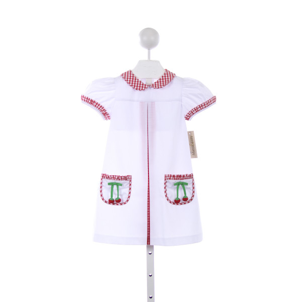 MARCO & LIZZY WHITE AND RED GINGHAM APRON DRESS WITH RED CHERRY POCKETS