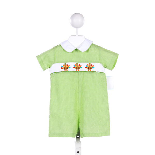 PETIT BEBE GREEN MICRO-GINGHAM SHORTALL WITH TURKEY SMOCKING