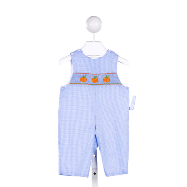 PETIT BEBE BLUE MICRO-GINGHAM LONGALL WITH PUMPKIN SMOCKING