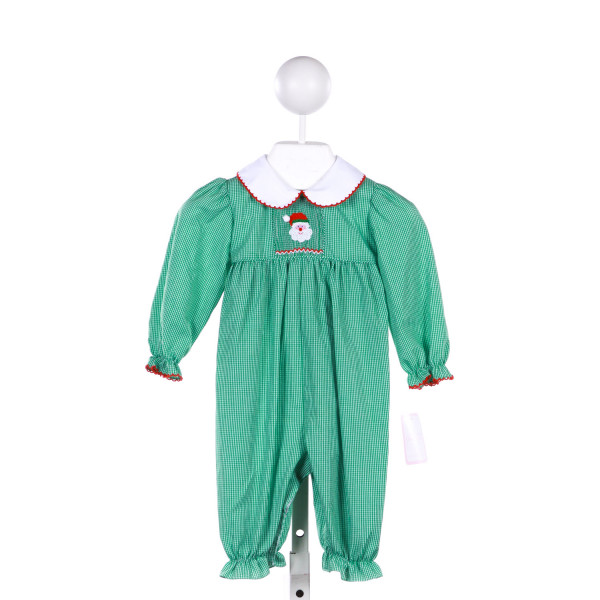 PETIT BEBE GREEN GINGHAM ROMPER WITH WITH SANTA SMOCKING